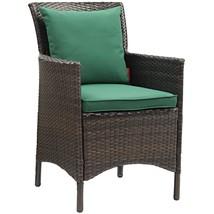 Conduit Outdoor Patio Wicker Rattan Dining Armchair Brown Green EEI-2801... - $250.25