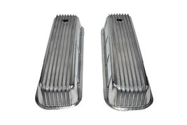 BBC BIG BLOCK CHEVY TALL FINNED POLISHED ALUMINUM VALVE COVERS 396 427 454 image 4