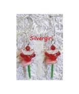 Single Stem Glass Dangle Earrings Red Flower - $8.99
