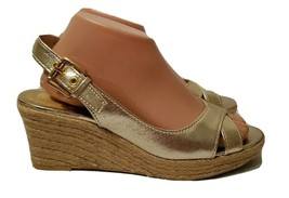 Franco Sarto L-Comedy Gold Open-Toe Cork Wedge Sling Heels for Women, 8.5 M - $16.83