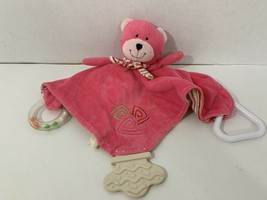 Stephan Baby Plush Pink teddy bear Teething security Blanket rattle stri... - $4.94