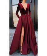 Burgundy V Neck Long Sleeves Side Slit Long Prom Dresses - $182.00