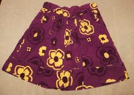 EUC Strasburg Purple Yellow Flower Floral Corduroy Skirt Size 10Y 10 - $2.99