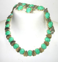 VINTAGE BOUCHER MARBOUX GREEN THERMOSET LARGE PARURE BRACELET NECKLACE E... - $200.00