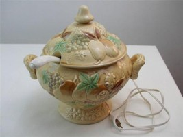 Retro Electrified Warmer Soup Tureen 1950's Ceramic Covered Dish Ladle 6... - $49.45
