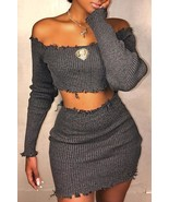Casual Dew Shoulder  Grey Knitting Two-piece Skirt Set - $30.48