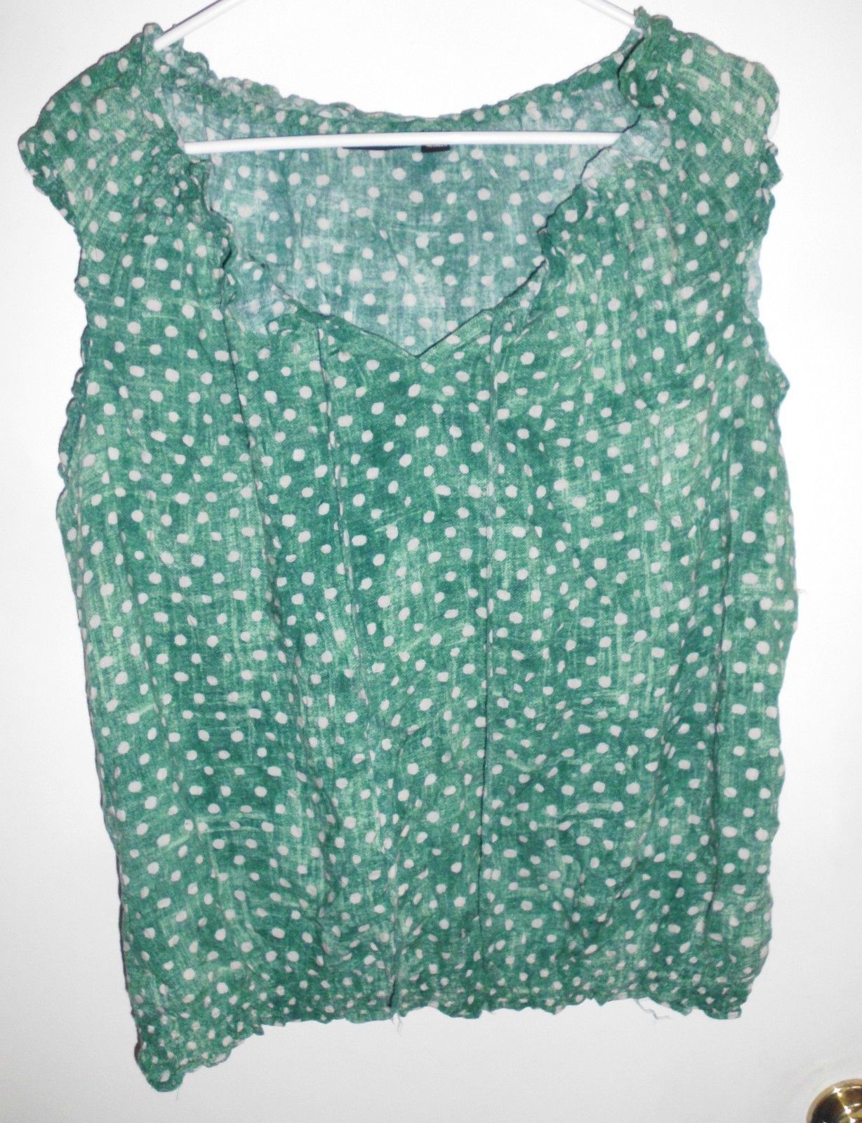 Primary image for A.N.A. A NEW APPROACH Shirt X-LARGE Women Green White Polka Dot Top