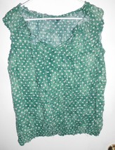 A.N.A. A NEW APPROACH Shirt X-LARGE Women Green White Polka Dot Top - $12.86