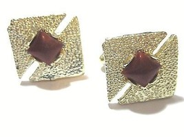 CUFFLINKS VINTAGE DOUBLE SIDED ARROW GOLD TONE TEXTURED BROWN LUCITE MID... - $15.00