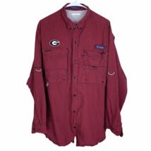 Georgia Bulldogs Columbia PFG Super Bonehead Shirt Large Red Black Check... - $29.60