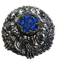 VINAIGRETTE POMANDER PERFUME ART DECO HOLDER ANTIQUE BROOCH PENDANT BLUE... - $125.00