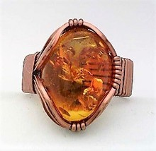 Amber Copper Wire Wrap Gemstone Ring 9 - $10.29