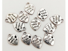 Antique Silver Heart Charms, Made with Love #8733