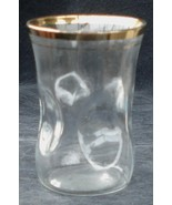 Nice 4 Ounce Pressed Glass Juice Glass, Gold Overlay - $4.94