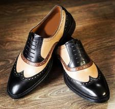 Handmade Men's Genuine Half White Dark Tan & Black Leather Lace Up Wingtip Shoes - $144.99