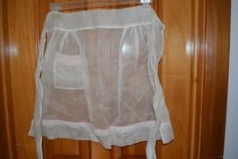 Vintage half waist apron sheer 1 pocket pink trim handmade - $9.69
