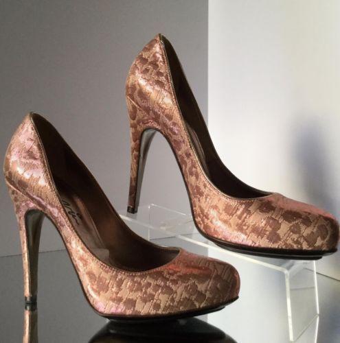 NEW LANVIN Metallic Pink Brocade Woven Platform Pumps (Size 37) - MSRP $985.00!