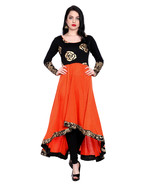 Ira Soleil kintted viscose orange high low kurti with gold flower print ... - $49.99