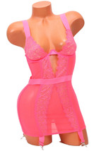 Victoria's Secret Hot Pink Lace Merry Widow Corset Attached Garters Size... - $44.50