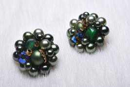 Vintage Collectible Japan Signed Beaded Green Toned Clip on Earrings - $15.00