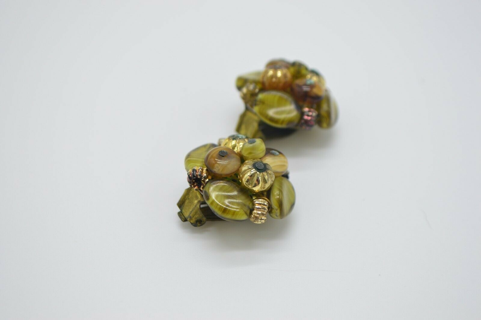 Western Germany Green Gold Cluster Glass Beaded Gold Tone Earrings Vintage
