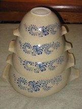 SET OF 4 - Vintage 1970's Pyrex HOMESTEAD Beige & Blue Cinderella Mixing Batter  - $148.49