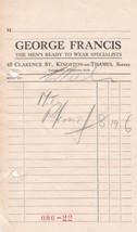 George Francis Kingston-on-Thames Surrey Mens Ready to Wear Receipt Ref ... - $7.55