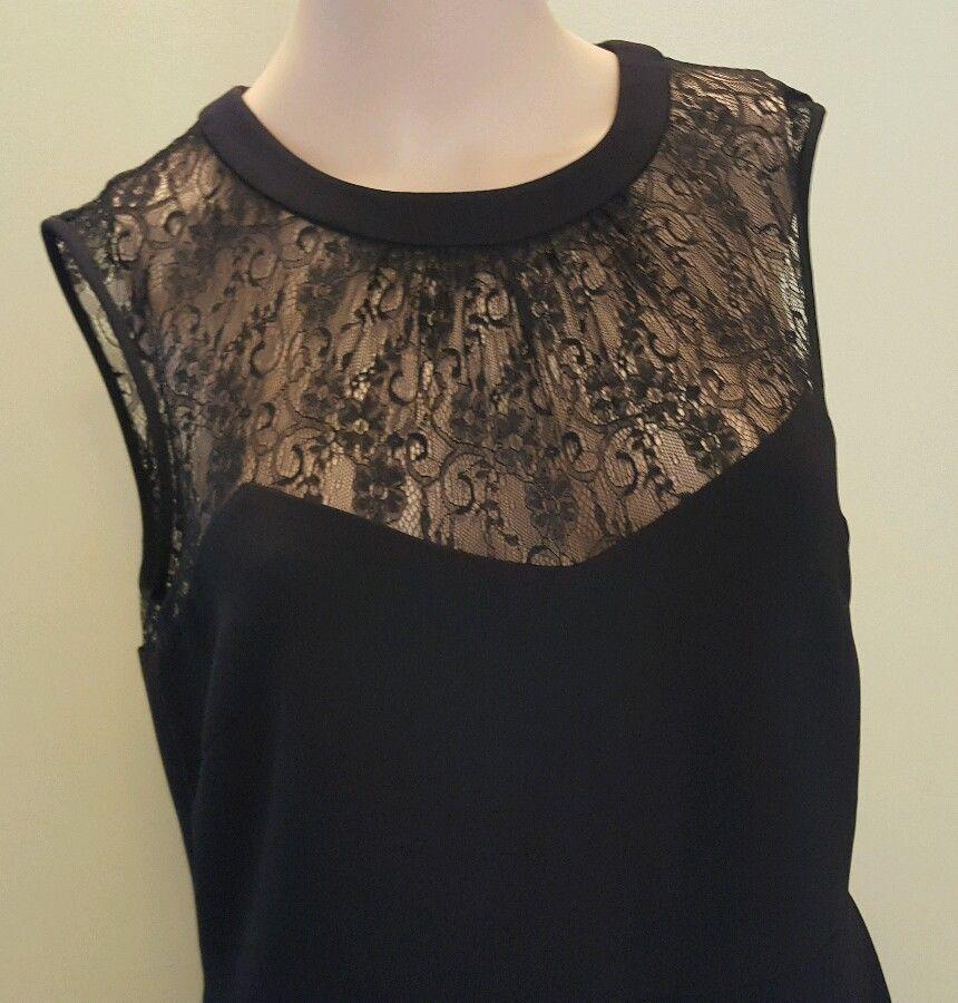 Anne Klein Women Illusion lace Sweetheart Black Sleeveless Dress Size 8 $139