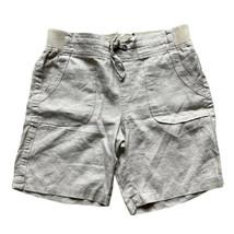 Athleta 100% Linen Bermuda Shorts Khaki Size 6 Pockets Drawstring Elasti... - $17.56