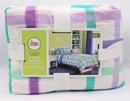 Circo 2 Pc Twin Quilt Purple Plaid Blanket Cover Sham Set New - $49.50