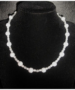 """16"""" genuine white carved shell and artglass bead necklace - $60.00"""