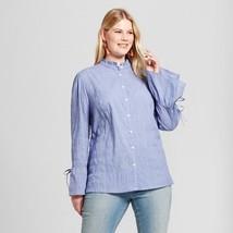 Women's Ava & Viv Plus Size Chambray Check Blue Button Down Shirt Size X... - $8.90