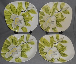 Set (4) Hand Painted RED WING - MAGNOLIA PATTERN Dinner Plates #1 - $69.29