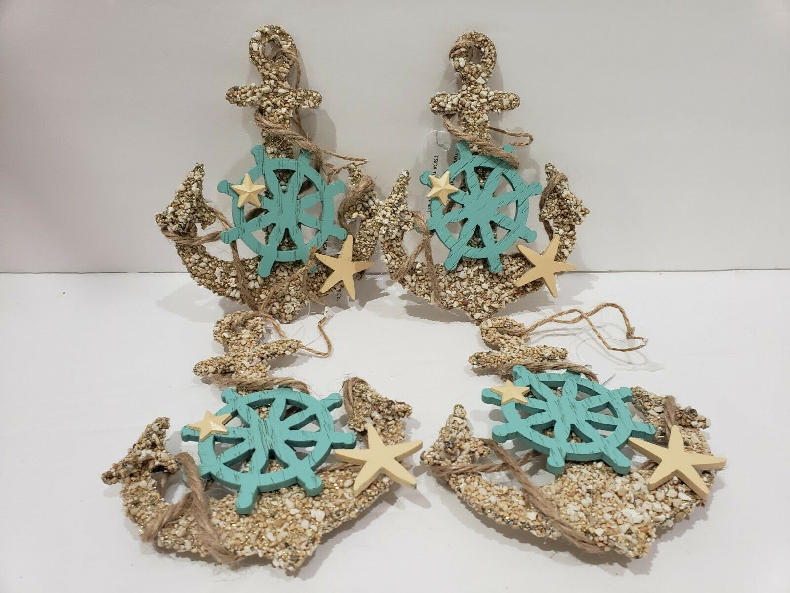 "Primary image for Coastal Beach Anchor Glitter 5"" Christmas Tree Ornaments Decor Set of 4"