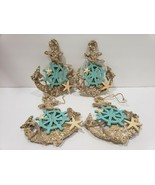 "Coastal Beach Anchor Glitter 5"" Christmas Tree Ornaments Decor Set of 4 - $24.99"