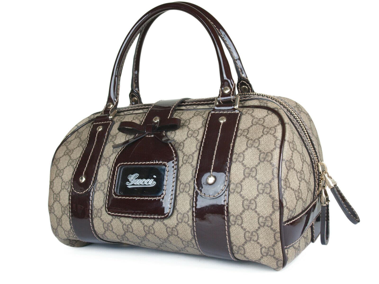 GUCCI GG Web PVC Canvas Patent Leather Browns Shoulder Bag GS2242