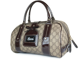GUCCI GG Web PVC Canvas Patent Leather Browns Shoulder Bag GS2242 - $429.00