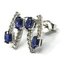 18K WHITE GOLD PENDANT EARRINGS, ALTERNATE OVAL BLUE SAPPHIRES & DIAMONDS image 2