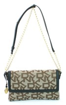 DKNY Donna Karan Brown Canvas Embossed, Leather Trim Shoulder Bag Small ... - $184.26 CAD