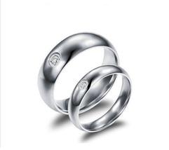 2pcs inlay cubic zirconia cyrstal couple ring promise engagement weddin... - $362,43 MXN
