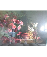 Homco Home Interiors Doves Picture Roses and Grapes on Table Burgundy 31... - $125.00