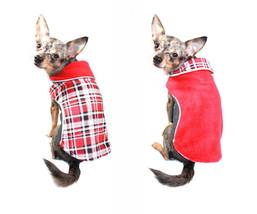 "Hip Doggie Red Plaid Reversible Polar Fleece Wrap Coat Medium 13"" - 15"" ... - $43.00"