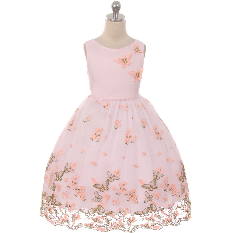 Mint Beautiful Metallic Butterfly and Embroidered Flower on The Skirt Girl Dress
