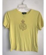 Lauren Ralph Lauren Womens SMALL Yellow Logo Crown Crest T-Shirt Tee Top... - $9.89