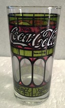 Coca Cola Tumbler Tiffany Style Red Green Stained Glass Drinking Glass -... - $7.91