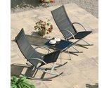 Outdoor patio rocker set table rocking chair 3 pcs poolside garden furniture thumb155 crop