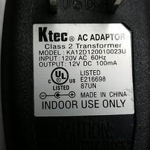 Ktec KA12D120010023U AC Adapter Output 12VDC 100mA - $9.15