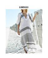 Elegant Black White Striped Side Split Long Beach Dress Cotton Tunic Wom... - $27.95