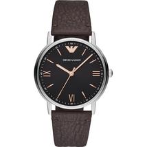 Emporio Armani AR11153 Black Dial Brown Leather Strap Men's Watch - $198.76
