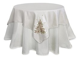 Pack of 2 Elegant Metallic Silver Table Toppers with Green & Red Festive Christm - $58.83